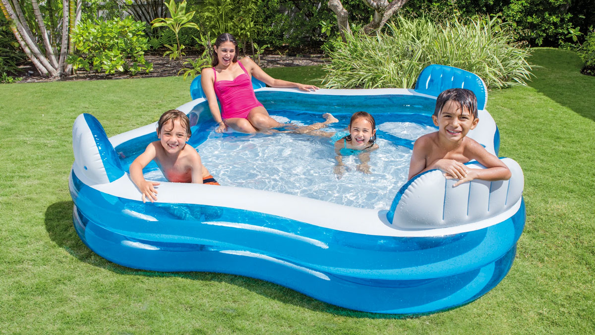 Backyard Inflatable Pool with Seats