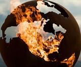 Planet Earth Globe Fire Pit Closeup