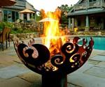 Great Bowl O' Fire Steel Firepit - Poolside Installation