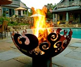 Great Bowl O' Fire Steel Firepit - Poolside Installation