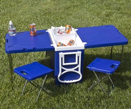 Rolling Cooler with Fold-Out Table & Chairs