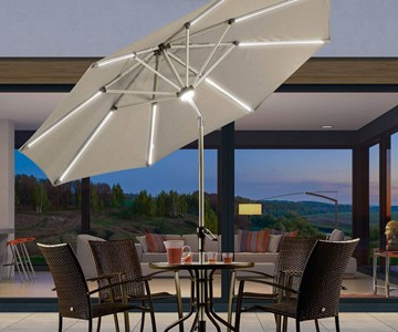 9' Solar Powered LED Lighted Patio Umbrella