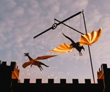 Campfire Flyers Flame-Powered Kinetic Dragon Sculpture