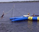 Floating Trampoline with Rope Swing