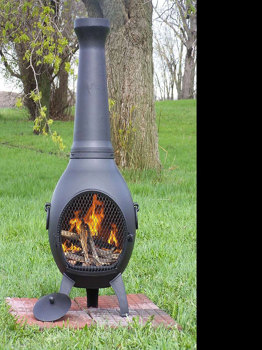Wood Burning Chiminea Outdoor Fire Pit | DudeIWantThat.com on Outdoor Fireplace Pit id=95068