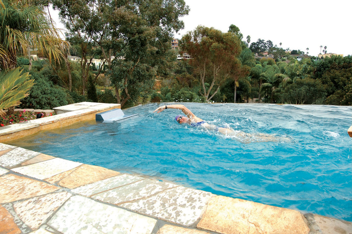 swimming pool with current machine