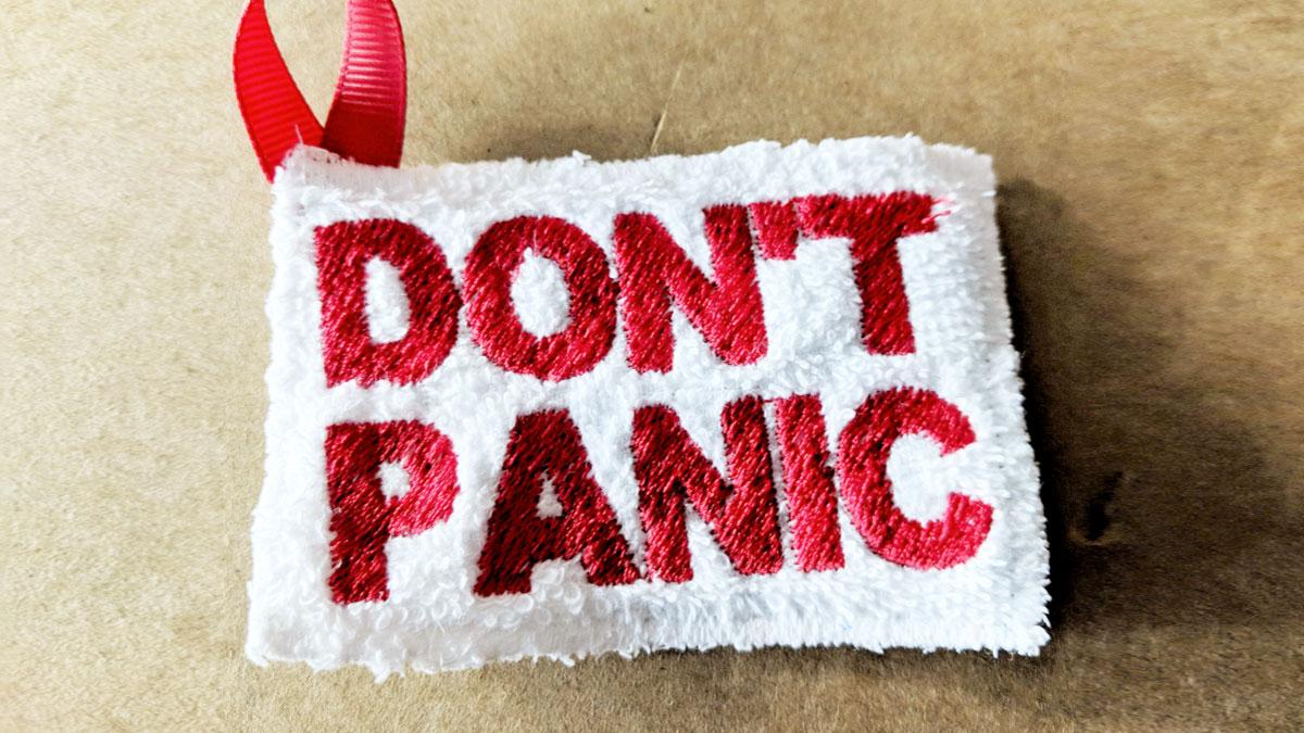 2c20c74395115 Don't Panic Keychain Towel   DudeIWantThat.com