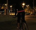 Cyclist Wearing Red HALO LED Sport Belt