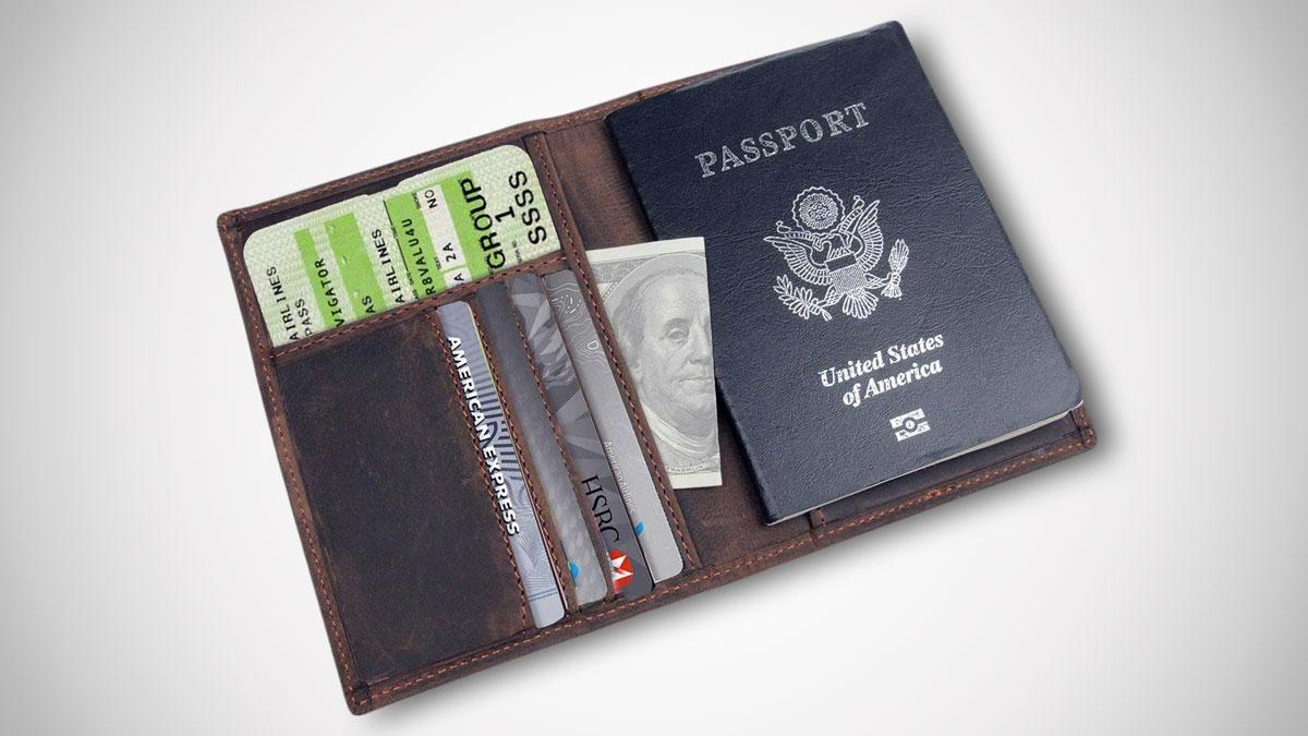 RFID-Blocking Leather Passport Holder