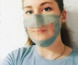 Face Mask with Transparent Mouth Panel