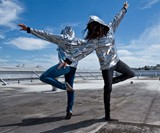 Girls Ballerina-ing in Reversible Disco Hoodies
