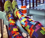 Woman Wearing Tetris Leggings and Retro Sneakers