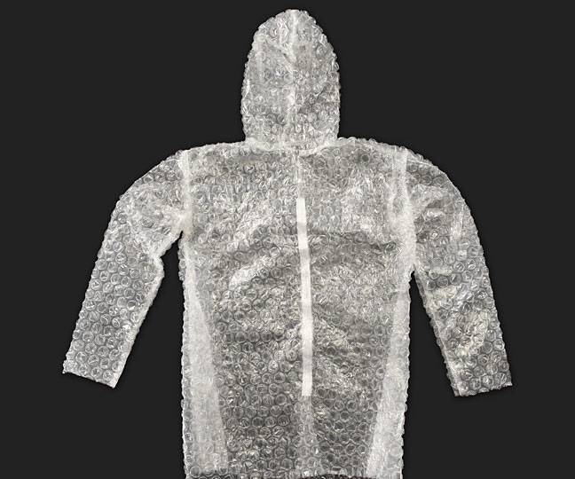 Cloak yourself in pockets of sealed air with the Bubble Wrap Suit. This two-piece costume features a hooded jacket with a velcro closure and elastic waistband pants. And yes, the entire outfit is made from bubble wrap. The #1 question asked by all who will see you proudly strutting around in the.