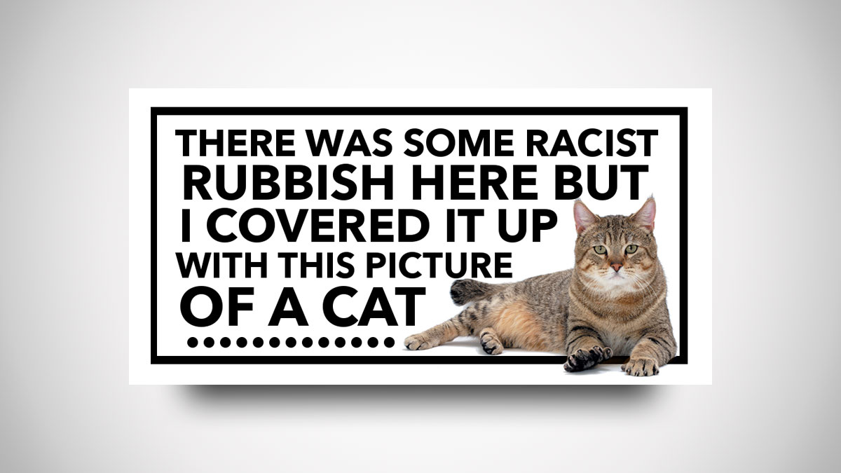 Racist BS Cat Cover-Up Stickers