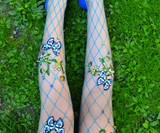 Flowered Fishnet Tights