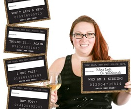 New Year's Resolution Mugshot Signs
