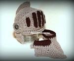 Crocheted Knight's Helmet & Booties for Infants