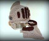 Crocheted Knight's Helmet & Booties for Infants