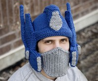 Crocheted Optimus Prime Helmet