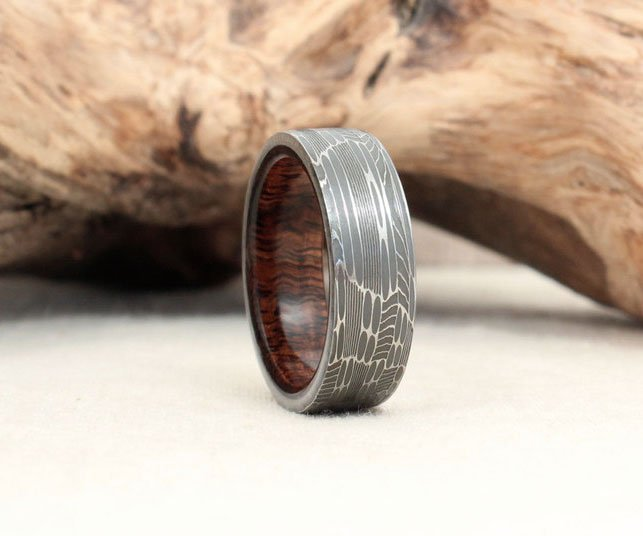 Gibeon Meteorite Ring Lined With K Gold