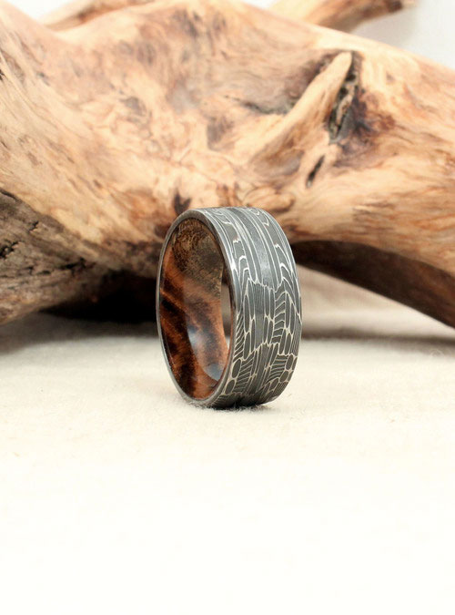 Hand Wrought Damascus Steel Amp Wood Rings