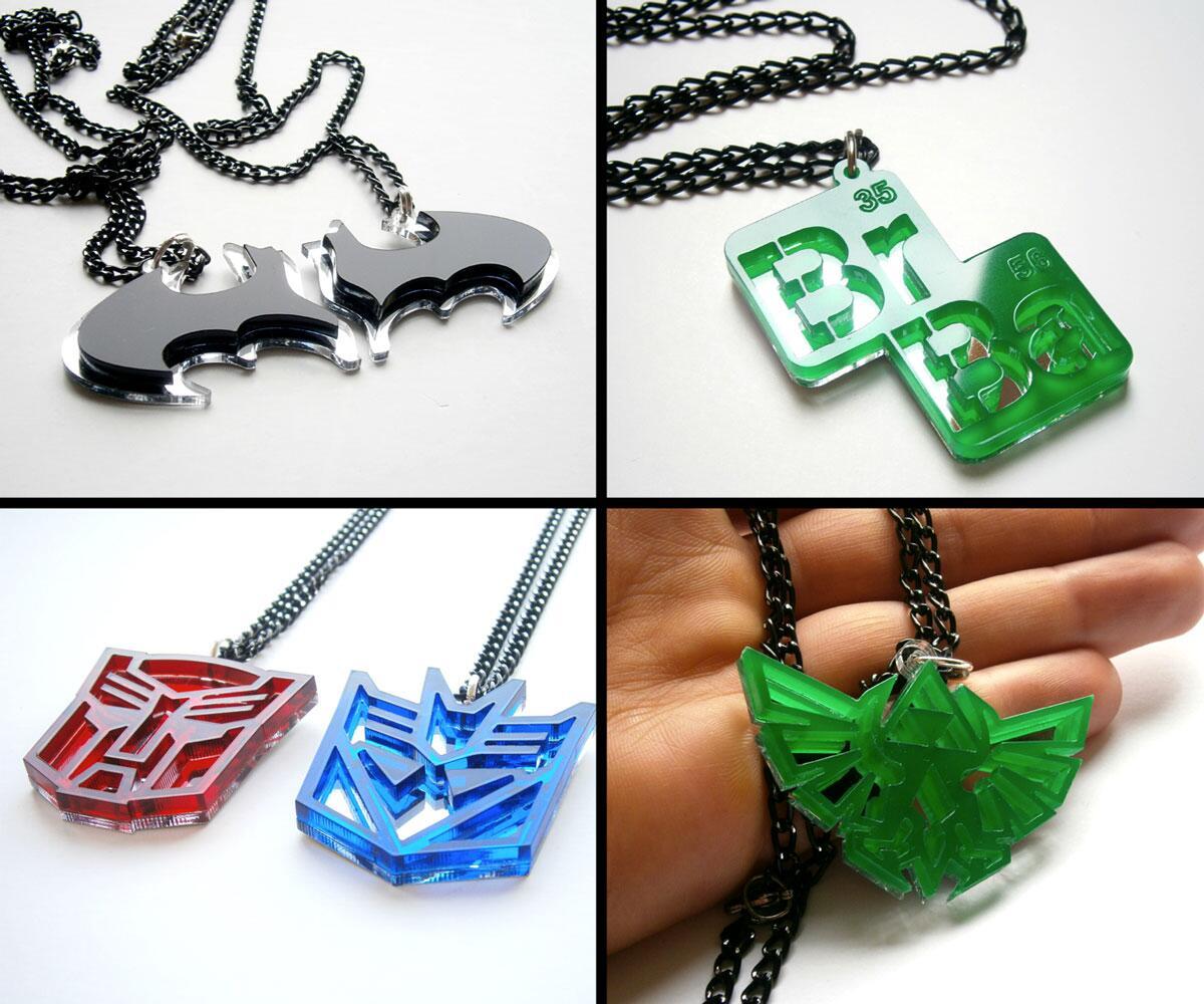 Laser Cut Pop Culture Necklaces