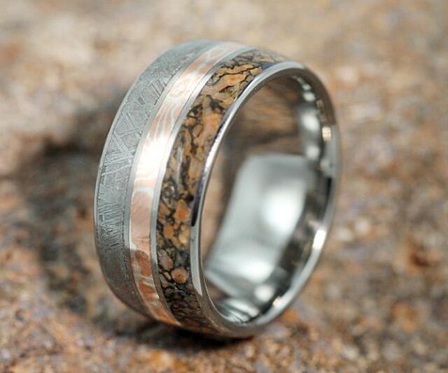 meteorite dinosaur bone inlaid rings - Dinosaur Bone Wedding Ring