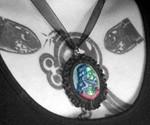 Girl Wearing Zombie Jesus Pendant Necklace
