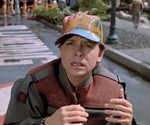 Marty McFly Wearing Neon Hat in Back to the Future II