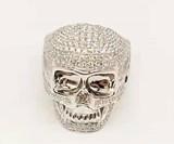 David Yurman Black Diamond & Ruby Wave Skull Ring