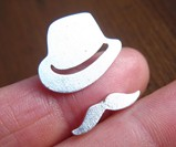 Mr. Mustache with Fedora Ring - Closeup