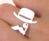 Mr. Mustache with Top Hat & Monocle Ring