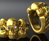 Solid Gold Three Skull Ring with Diamond Eyes