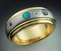 9 Planets Ring with Spinning Meteorite Band