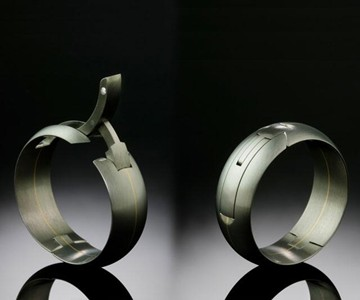 Meteorite Ring Mens Demascus Steal