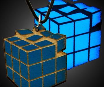Black Light Rubik's Cube Necklace
