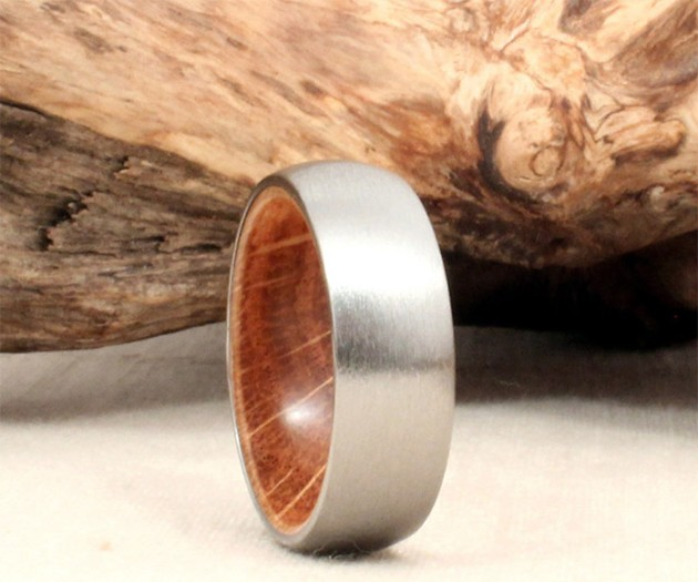 Titanium & Jack Daniels Barrel Ring
